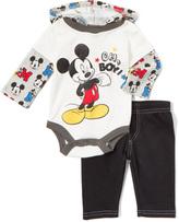Children's Apparel Network White 'Oh Boy!' Mickey Mouse Bodysuit & Black Pants - Infant