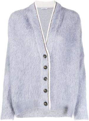 Brunello Cucinelli Contrasting-Trim Button Cardigan