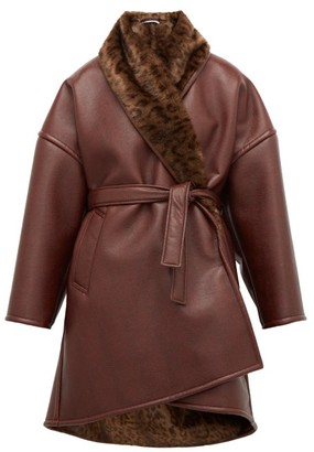 Balenciaga Oversized Faux-fur And Faux-leather Wrap Coat - Burgundy