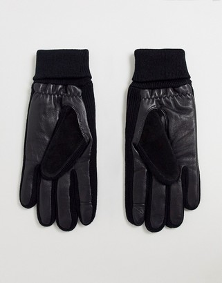 ASOS DESIGN leather touchscreen gloves in black with suede and rib cuff