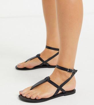 ASOS DESIGN Wide Fit Fennel leather toe post sandal in black