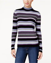 Karen Scott Petite Striped Ribbed Sweater, Only at Macy's