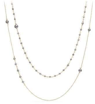 David Yurman Shipwreck Chain Necklace With Grey Freshwater Pearls In