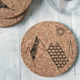 Rocket and Fox Cork Coaster Set Of Four