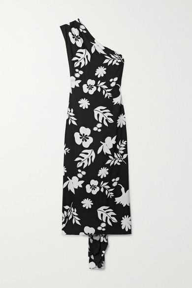 Racil Flavia Embellished One-shoulder Printed Crepe Maxi Dress - Black