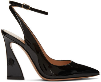 Gianvito Rossi Black Open Back Curved Heels
