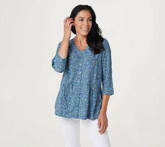 Denim & Co. Naturals Peplum Button-Front Blouse