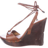 Diane von Furstenberg Leather Lace-Up Wedge Sandals