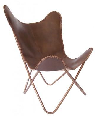 Nubuck Butterfly Chair Chocolate
