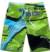 Moxeay Men Loose Personality Printing Beach Wear Shorts Pants (3XL, )