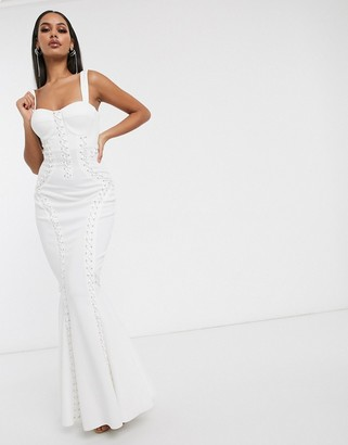 ASOS DESIGN Premium extreme lace up cami maxi dress in white