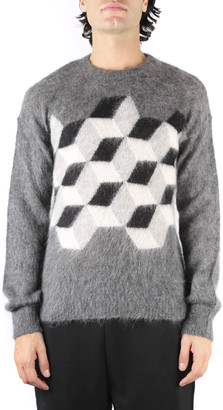 MONCLER GENIUS Grey Wool Round Neck Sweater