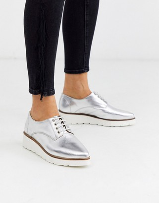 Asos Design DESIGN Majesty leather pointed lace up flat shoes in silver