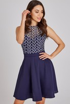 Little Mistress Connie Navy Geo-Lace Mini Skater Dress