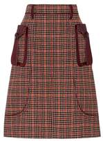 Prada Wool-blend houndstooth skirt