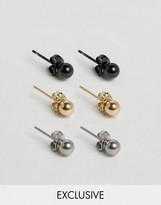 Reclaimed Vintage Classic Stud Earrings In 3 Pack