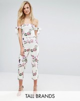 Oh My Love Tall Bardot Jumpsuit With Tie Sleeves In Floral Print