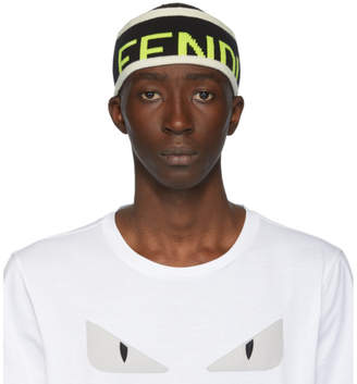 Fendi Black Wool Logo Headband