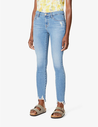 J Brand Ladies Blue Cotton Ripped 835 Cropped Skinny Mid-Rise Jeans, Size: 23