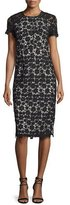 Shoshanna Short-Sleeve Lace Sheath Dress, Black/Ivory