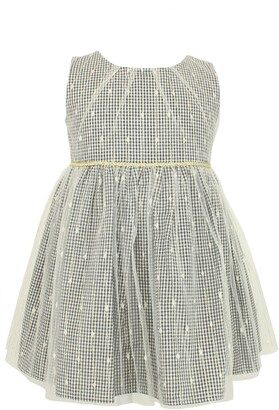 Popatu Kids' Check Dress with Sheer Overlay