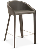 One Kings Lane Kane Counter Stool - Shadow Leather - upholstery, shadow; hardware, stainless steel