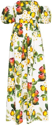 Borgo de Nor Juliette lemon-print maxi dress