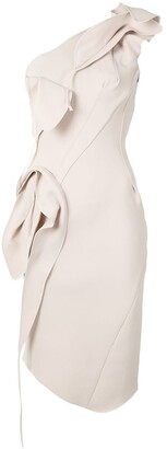 Maticevski Draped One-Shoulder Midi Dress