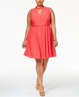 NY Collection Plus Size Eyelet Fit & Flare Dress