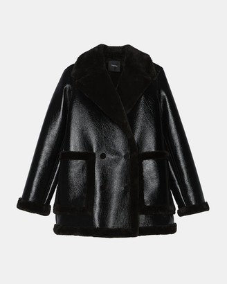 Theory Peacoat in Bonded Faux Shearling
