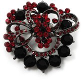 Avalaya Red & Jet-Black Diamante Corsage Brooch (Black Tone)