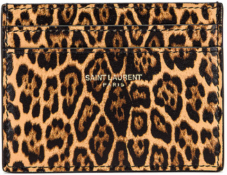 Saint Laurent Card Case in Toffee & Naturale | FWRD