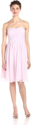 Donna Morgan Women's Anne Short Strapless Chiffon Dress