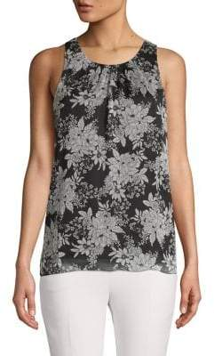 Vince Camuto Petite Floral-Print Sleeveless Top