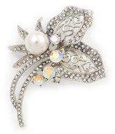 Avalaya Bridal AB & Clear Crystal Floral Brooch In Plating - 8cm Length