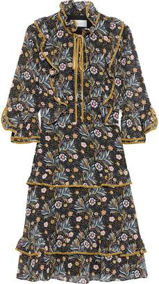 Mikael Aghal Velvet-trimmed Ruffled Floral-print Crepe De Chine Dress