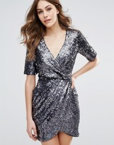 French Connection Lunar Sparkle Wrap Party Dress