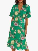 Yumi Peony Print Kimono Sleeve Midi Dress, Green