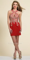 Dave and Johnny Rhinestone Embellished Keyhole Halter Plus Size Dress