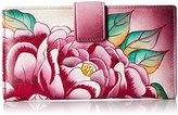 Anuschka Handpainted Leather Two Fold Precious Peony Wallet