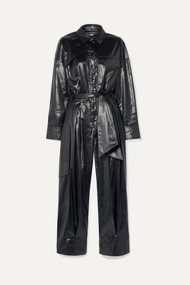Tibi Belted Shell Jumpsuit - Midnight blue