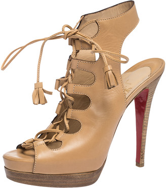 Christian Louboutin Tan Leather Lace Up Peep Toe Miss Fortune Platform Sandals Size 38