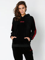 Stussy New Womens Text Velour Boyfriend Hoodie In Black With Red Stripes