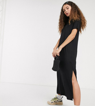 Monki Isabella jersey midi t-shirt dress with side split in black