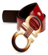 Salvatore Ferragamo Coated Brass Buckle Leather Belt