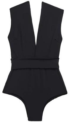 Haight Roge Cap-sleeve Waistband Swimsuit - Black