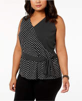 INC International Concepts I.N.C. Plus Size Sleeveless Ruffled Top, Created for Macy's