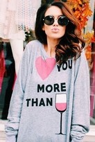 Wildfox Couture I Love You More Than Baggy Beach Jumper in Vintage Grey