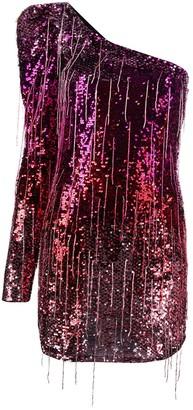Amen One-Shoulder Ombre Mini Dress