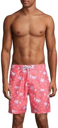Trunks Surf + Swim Palm Tree Print Swim Trunks